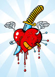 Heart pierced with a knife Stock Photos