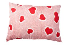 Heart pillow. Valentines day red love heart comfortable pillow Stock Photography