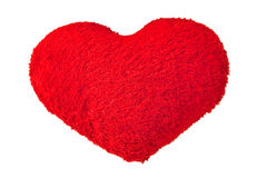Heart pillow. Soft red heart pillow on white background Stock Images