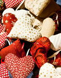Heart pillows. The love shows itself in various themes Royalty Free Stock Image