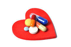 Heart and Pills Royalty Free Stock Photography