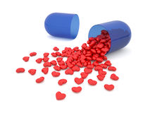 Heart pills. 3d illustration of pills laid out as a heart shape Stock Photos