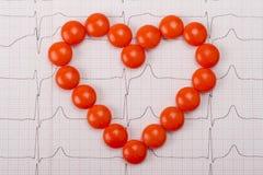 Heart  of pills on ECG Royalty Free Stock Image