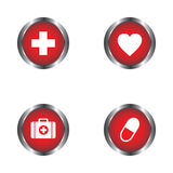 Heart, pills, First Aid kit and First Aid sign icon vector design Stock Image
