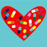 Heart with pills. stock illustration