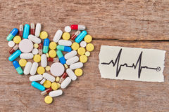 Heart from pills, image of heartbeats. Royalty Free Stock Image