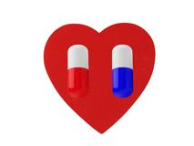Heart and pills isolated on white Royalty Free Stock Photos