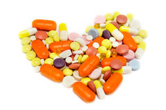 Heart of pills Stock Photos