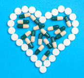 Heart of  pills Stock Photo