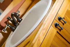 Heart Pine/Craftsman Style Sink Stock Photos