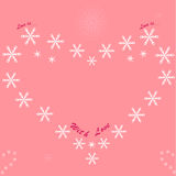 Heart on a pink background. Heart from snowflakes on a pink background Royalty Free Illustration