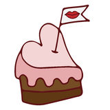 Heart pink cake with little flag with red lips Royalty Free Stock Image