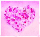 Heart Pink. Digital watercolor painting of a heart in a range of pinks and reds. Space for text Vector Illustration