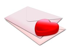 Heart_pink envelop. A red glossy heart on a pair of envelops Royalty Free Stock Image