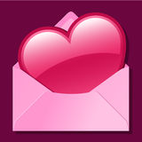 Heart in pink envelope Royalty Free Stock Image