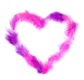 Heart in pink feathers isolated on white Stock Photos