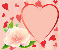 Heart with pink flower. Stock Photography