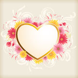 Heart and pink flowers Royalty Free Stock Photos