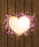 Heart and pink flowers Stock Image