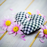 Heart with pink flowers Stock Photo