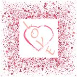 Heart on pink glitter for makeup isolated on pink background, space for text stock illustration
