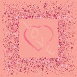 Heart on pink glitter for makeup isolated on pink background, space for text royalty free illustration