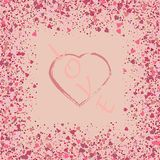 Heart on pink glitter for makeup isolated on pink background, space for text vector illustration