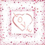 Heart on pink glitter for makeup isolated on white background, space for text vector illustration