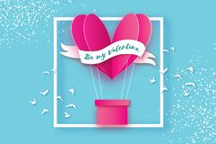 Heart Pink hot air balloon flying. Love in paper cut style. Origami heart. Happy Valentine day. Ribbon tape for text. Birds. Romantic Holidays. 14 February Stock Photo