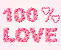 Heart1. Pink lettering from a variety of hearts vector illustration