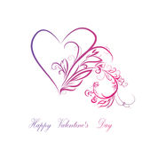 Heart of pink and patterns curls Stock Images