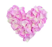 Heart with pink petals Stock Images