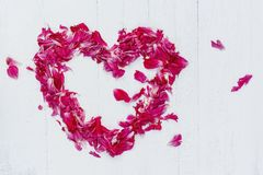 Heart of pink petals Royalty Free Stock Photos