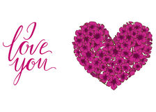 Heart of pink phlox flowers isolated on white background and lettering I LOVE YOU. Vector illustration. Royalty Free Stock Image