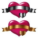 Heart pink + Ribbon gold and sylver Royalty Free Stock Photos