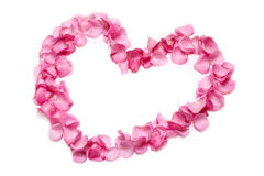 Heart of pink rose petals Stock Photos
