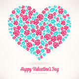Heart of pink roses. Beautiful card for Valentines Day with a heart of pink roses and turquoise leaves Royalty Free Stock Photography