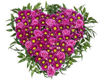 Heart of pink roses and chrysanthemums on a white background, to Stock Images