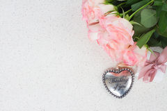 Heart with pink roses Stock Images