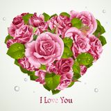 Heart from pink roses Valentines day card Royalty Free Stock Image