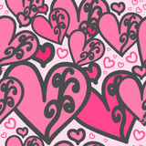 Heart pink. Seamless pattern. Heart pink color of with swirls. For printing on packaging, bags, cups, laptop, furniture, etc. Vector Royalty Free Stock Image