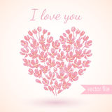 Heart of pink watercolor flowers. valentine day's card Royalty Free Stock Photography