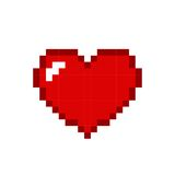 Heart pixel red icon isolated on white background. Romantic love. Vector illustration stock illustration
