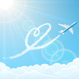 Heart and plane in the sky Royalty Free Stock Images