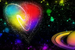 Valentines day heart on the background of a distant galaxy night royalty free stock photo