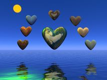 Heart and planets Royalty Free Stock Photos