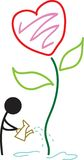 Heart plant. Isolated line art cartoon Royalty Free Stock Photos
