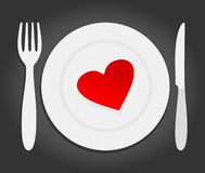 Heart on a plate Royalty Free Stock Images