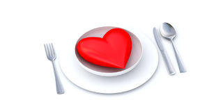 Heart on a plate 2. Red heart served on a white plate vector illustration