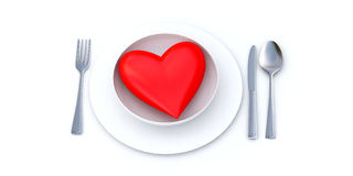 Heart on a plate. Red heart served on a white plate Royalty Free Illustration